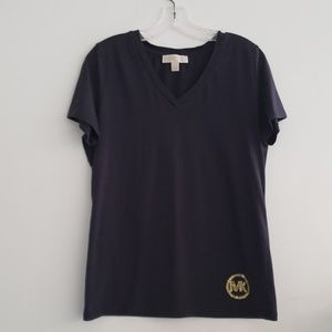 Michael Kors Navy V-Neck T-Shirt Gold MK Sz L